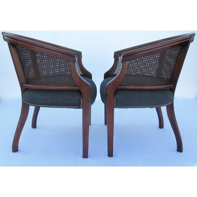 Metal Vintage C.1968 Mahogany Barrel Back & Caned Arm Chairs With Brass Nail Heads - a Pair For Sale - Image 7 of 13