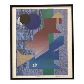 Vintage Abstract Silk Screen Original Art For Sale