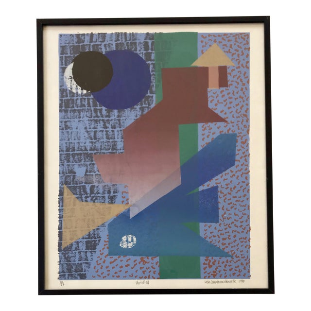 Vintage Abstract Silk Screen Original Art For Sale