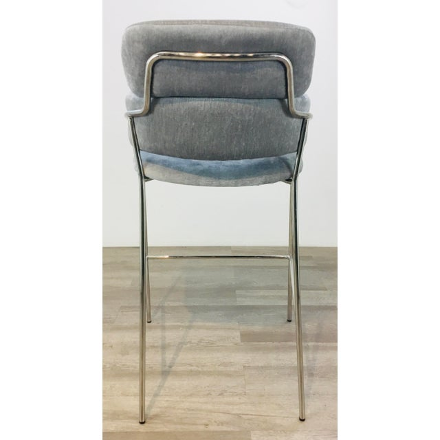 Metal Interlude Home Modern Gray Velvet Counter Stools - a Pair For Sale - Image 7 of 8