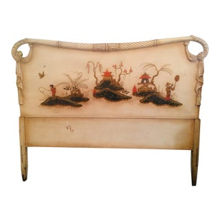 Vintage Chinoiserie Hollywood Regency Full Size Headboard For Sale