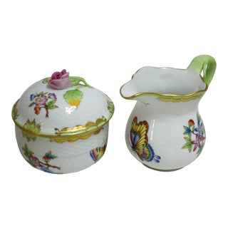 Queen Victoria Creamer & Sugar by Herend For Sale
