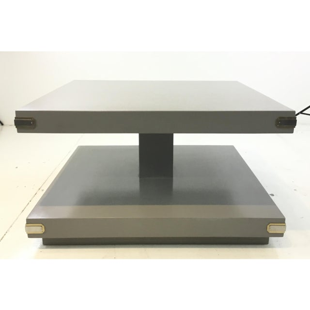 2010s Caracole Contemporary Gray Wood Two Tiered Cocktail Table For Sale - Image 5 of 5