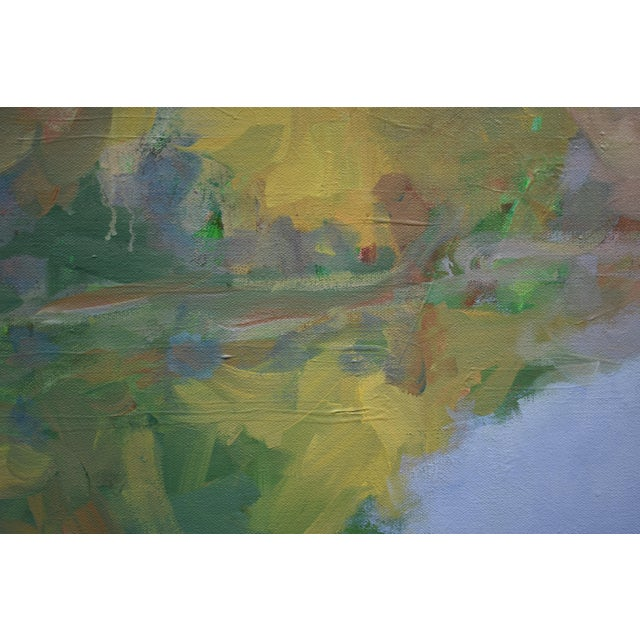 """Stephen Remick Contemporary Landscape Painting by Stephen Remick, """"Overcast Autumn Day at the Pond"""" For Sale - Image 4 of 11"""