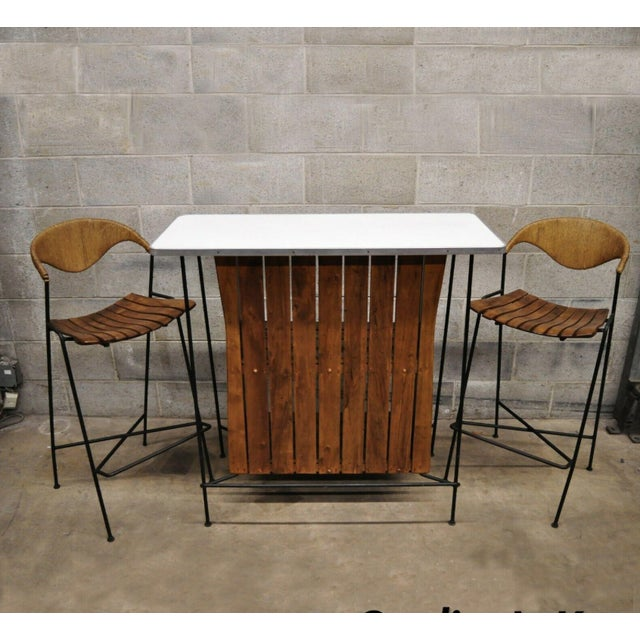 Mid Century Modern Arthur Umanoff Wrought Iron and Rattan Bar and Bar Stools- 3 Pieces For Sale - Image 13 of 13