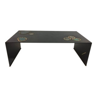 """""""Cenotes"""" an Original Custom Designed Cocktail Table with Agate Elements For Sale"""