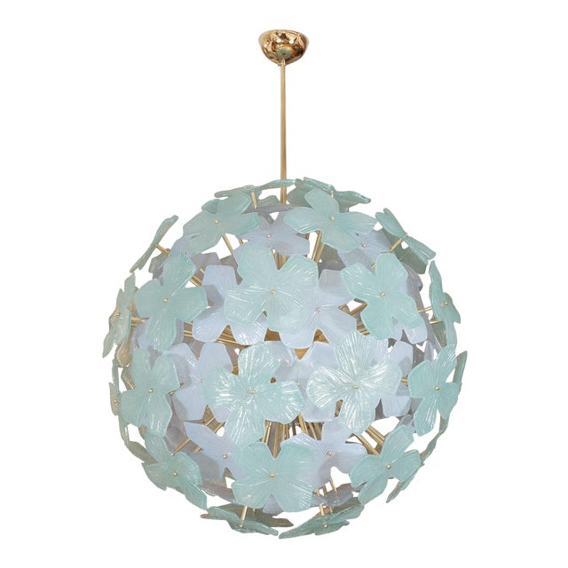 Spherical Pale Green Flower Form Chandelier For Sale