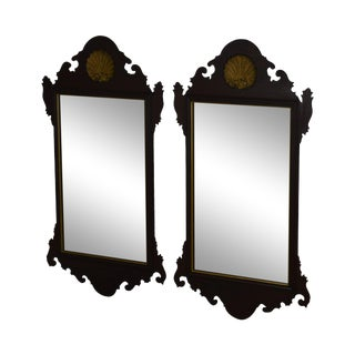 1980s A. Cooper Handcrafted Chippendale Style Mahogany Shell Carved Mirrors - a Pair For Sale