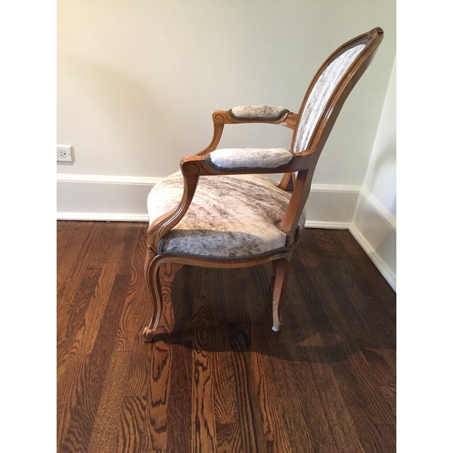 """Art Nouveau French Hide Upholstered """"Hers"""" Bergere Chair For Sale - Image 3 of 9"""