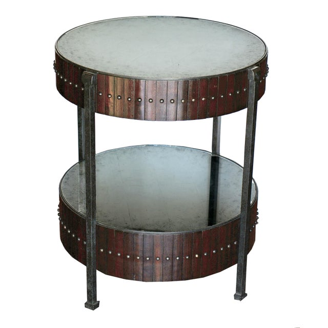 Thomas & Gray Two Tired Beaded Drum Accent Lamp Table For Sale In Atlanta - Image 6 of 6