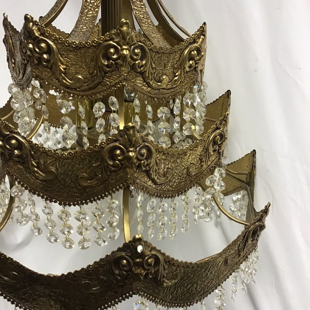 Gold French Gold Tier Swag Lamp Chandelier For Sale - Image 7 of 12