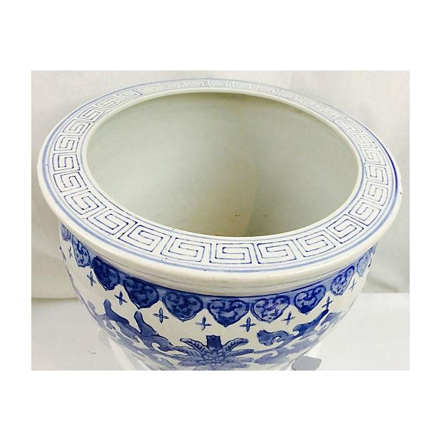 Blue & White Chinoiserie Planter With Stand For Sale - Image 4 of 4