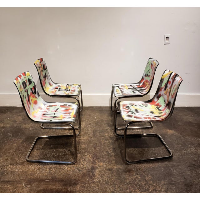 Lionel Lamy Graffitied Carl Ojerstam Chairs Painted by Artist Lionel Lamy For Sale - Image 4 of 9