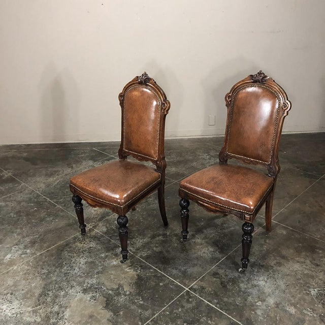 Set of Eight 19th Century French Walnut Dining Chairs For Sale - Image 4 of 13