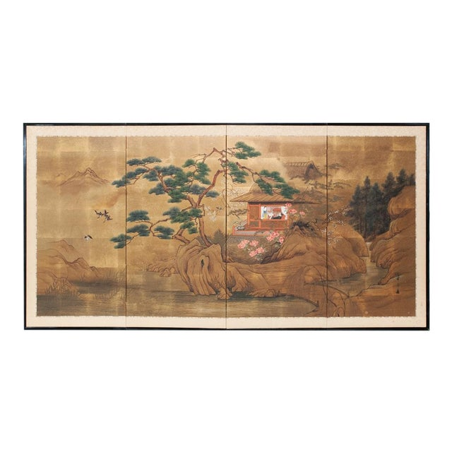 1920s Vintage Japanese Landscape Scene Byobu Screen For Sale