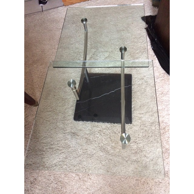 Modern Glass, Chrome & Marble Base Swivel Coffee Table - Image 10 of 11