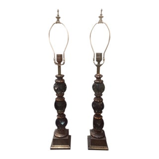 Vintage Italian Glass 3 Ball Lamps - a Pair For Sale