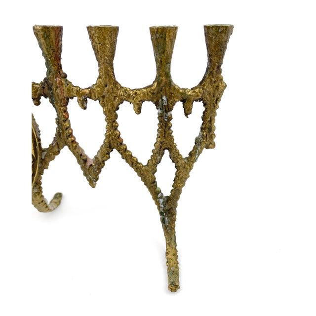 Vintage 1950s Brass Brutalist Hanukkah Menorah Wainberg Style For Sale - Image 4 of 8