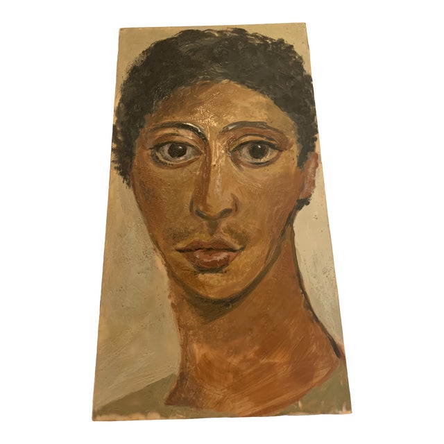 Portrait of Woman Painting on Wood For Sale