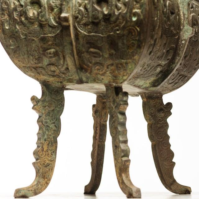 Asian Verdigris Bronze Incense Burner For Sale - Image 3 of 7