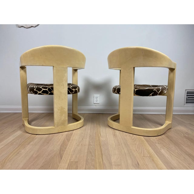 Art Deco Karl Springer Onassis Goatskin Chairs - a Pair For Sale - Image 3 of 6