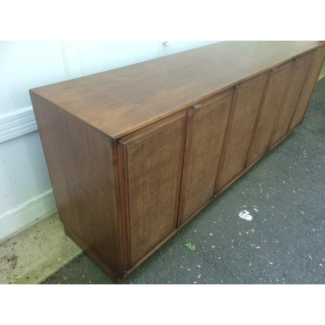 Mid-Century Modern Founders Cane Paneled Credenza For Sale - Image 3 of 9