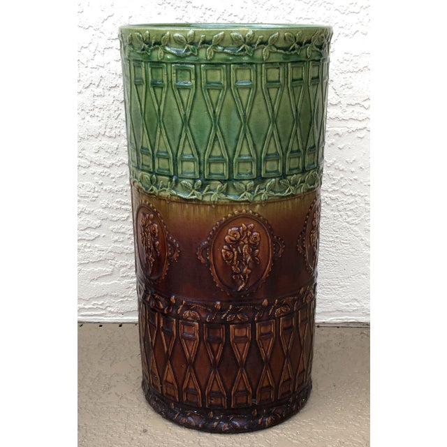Antique Majolica Art Pottery Umbrella Stand For Sale - Image 4 of 9