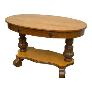 Early 1900s Victorian Oak Oval Console Table Desk For Sale
