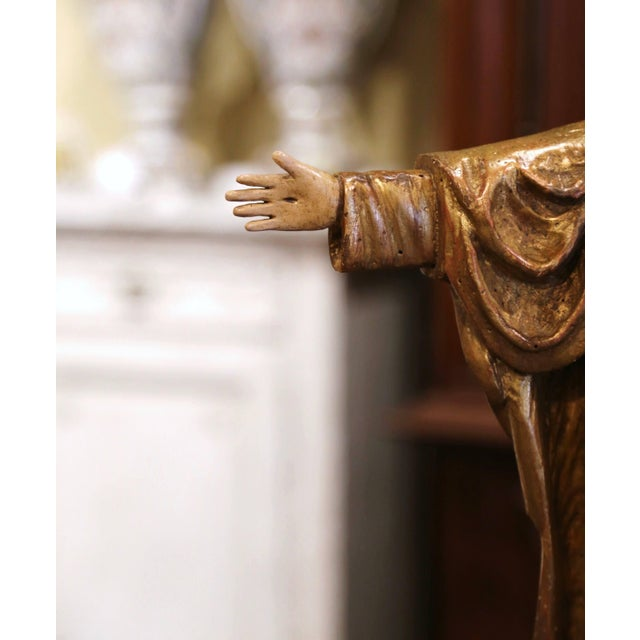 """Late 19th Century 18th Century Spanish Carved Polychrome Gilt Statue of Christ With """"Sacred Heart"""" For Sale - Image 5 of 13"""