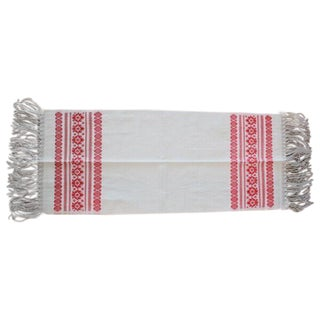 Mexican Brocade White & Red Table Runner