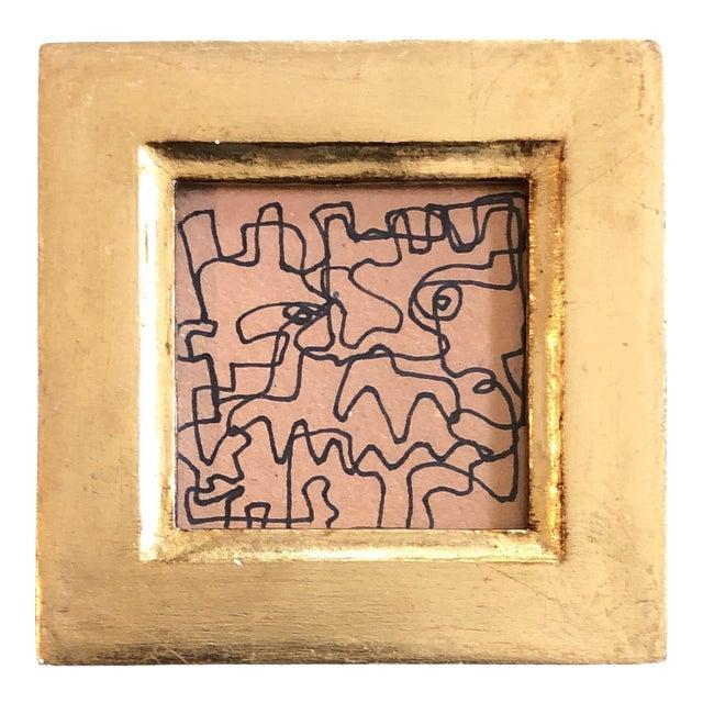 Original Vintage Wayne Cunningham Miniature Abstract Ink Drawing Italian Gilt Wood Frame For Sale