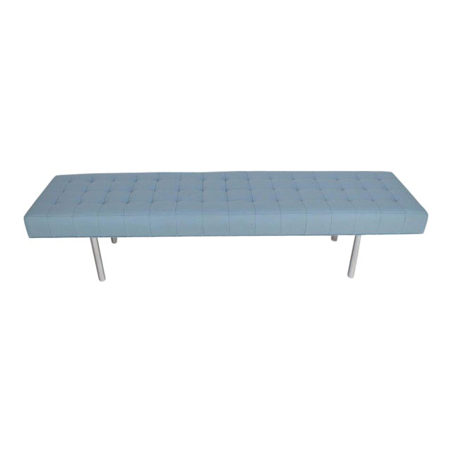 Tufted Light Blue Upholstery Chrome Cylinder Legs Long Bench Almost Daybed For Sale