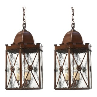 Pair of Custom Copper Lanterns For Sale