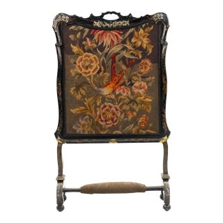 Victorian Papier Mache Lacquered Fire Screen For Sale