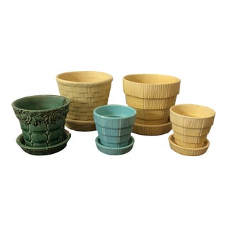 Vintage McCoy Ceramic Pottery Planters - Set of 5 For Sale