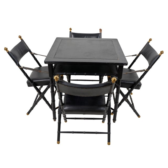 Campaign 1950s French Game Table and Campaign Chairs - 5 Pieces For Sale - Image 3 of 13