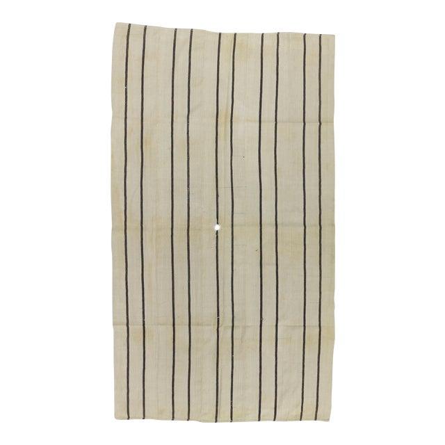 Vintage Striped Natural Turkish Kilim Rug - 5′7″ × 9′8″ For Sale