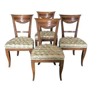French Walnut Dining Chairs With Fan Backs -Set of 4 For Sale