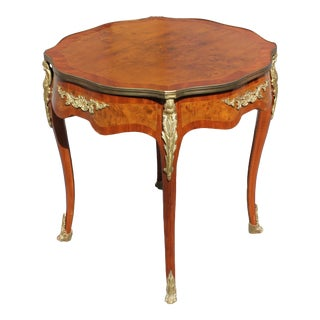1910s French Country XV Marquetry Center Table For Sale