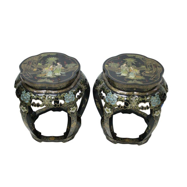 Chinoiserie Black Lacquer Stools - A Pair - Image 2 of 4
