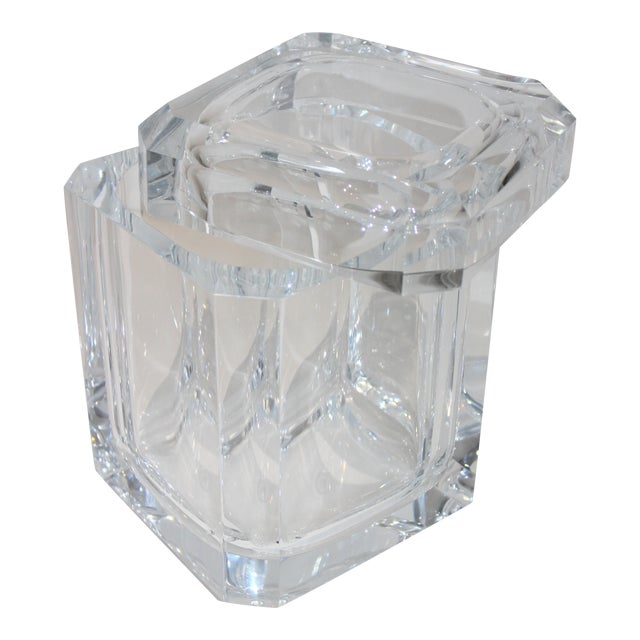 Vintage Lucite Ice Bucket With Cantilevered Lid For Sale