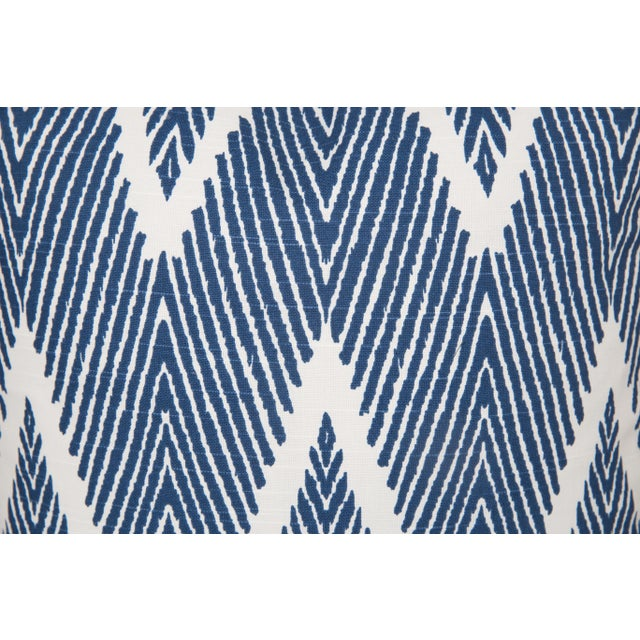 Boho Chic Blue and Ivory Chevron Pillows - a Pair For Sale - Image 3 of 6