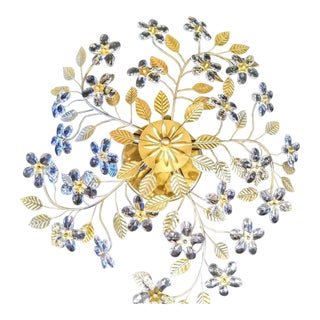 Vintage 5 Light Tole Gold Large Gilt Flower Crystal Flush Mount Chandelier Light Fixture Hollywood Regency For Sale