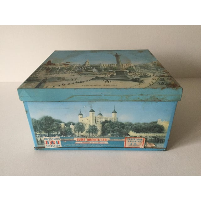 1940's Elkes Ltd. Trafalgar Large Square English Biscuit Tin Box With Lid For Sale - Image 4 of 11