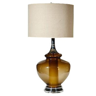 1970s Smoked Glass Table Lamp For Sale