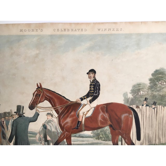 Rare Horse Racing Aquatint showcases the 1853 Winner of the famous English Derby - Western Australia. Informational...