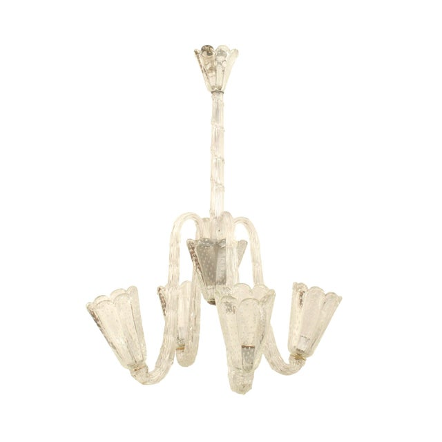 1940s 1940s Italian Opalescent Glass Chandelier by Barovier E Toso For Sale - Image 5 of 5