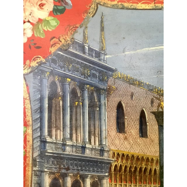 19th Century Tole Tray Featuring a Hand Painted Italian Scene For Sale - Image 10 of 13