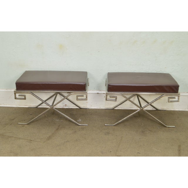 1990s Hollywood Regency Greek Key Silver X Benches - A Pair For Sale - Image 5 of 13