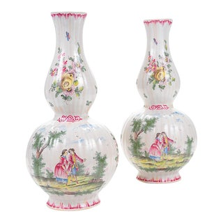 """18th Century French Enamel 12"""" Vases - a Pair For Sale"""